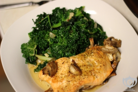 Baked Salmon w/ Mushrooms & Kale
