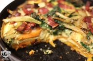 Kale, Onion, Fennel, Turkey Bacon Frittata w/ Sweet Potato crust