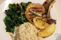 Pork Chops w/ Rice & Kale